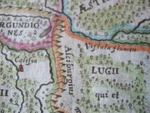 Mapa Ptolemeusza z wyróżnioną Calisią